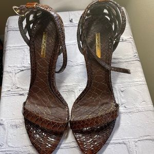 Michael Antonio Brown Snakeskin Print Sandals